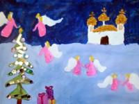 Голева Юлия 10 лет, Рождественский сочельник, гуашь, А3