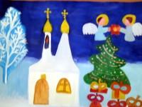 Зотова Алина, 9 лет, Праздник Рождества, гуашь, А3