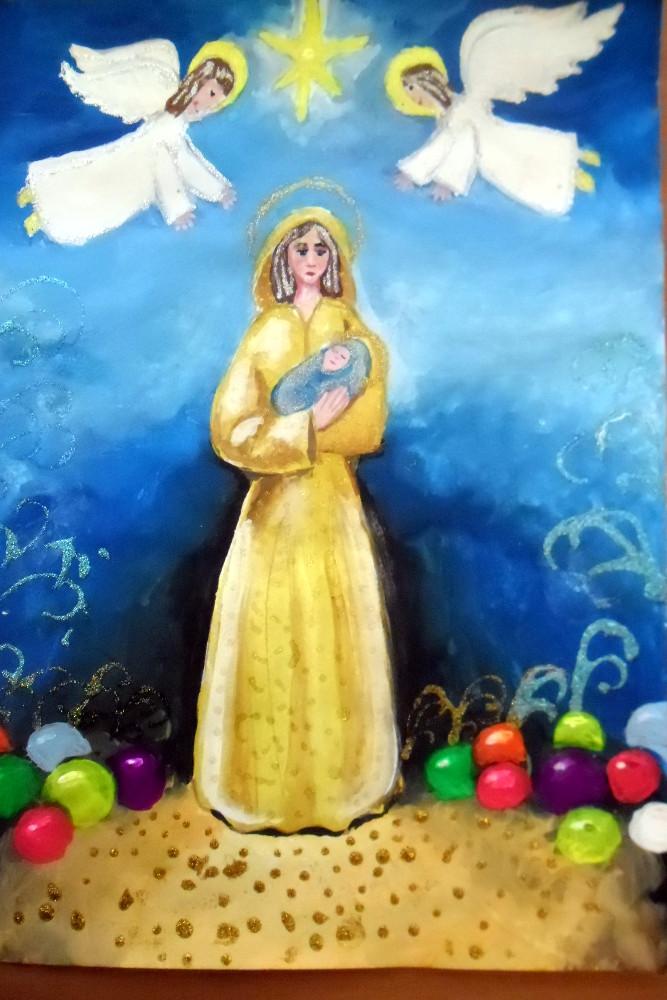 Нажмутдинова Кристина, 11 лет, Мария с младенцем, гуашь, А3