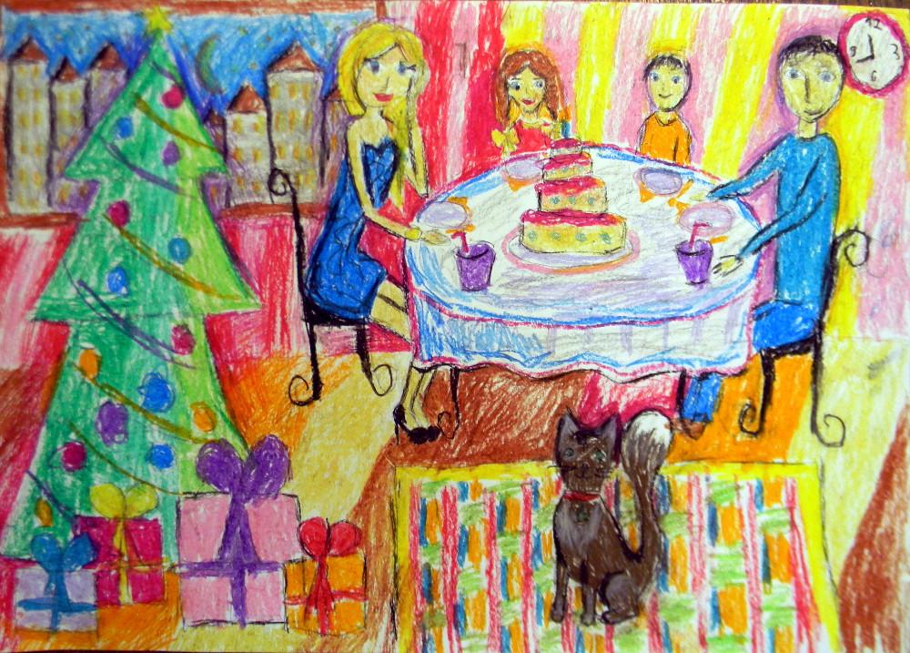 Латкина Саша, 9 лет, Праздничный пирог, масляная пастель, А2