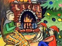Пашина Даша, 13 лет, Рождественская сказка, гуашь, А2