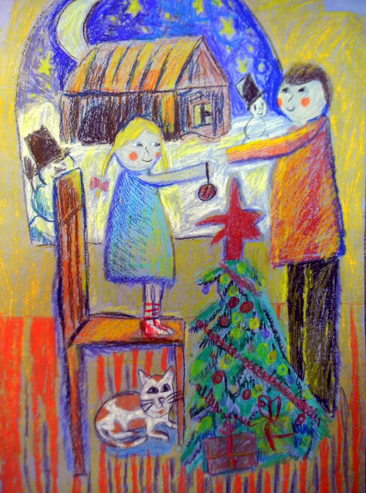Пинегина Лиза, 10 лет, Наряжаем ёлку с папой, масляная пастель, А2
