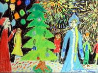 Муслимова Даша, 10 лет, Возле ёлки, масляная пастель, А2