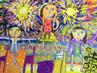 Калинина Настя, 9 лет, На празднике, гуашь, А2