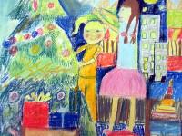 Насретдинова Полина, 10 лет, Наряжаем ёлку, сухая пастель, А2
