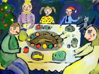 Комарова Ксения, 13 лет, Рождественский гусь с яблоками, гуашь, А2