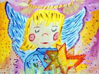 Чистякова Мария, 9лет, Ангел Рождества, гуашь, 30х40 см