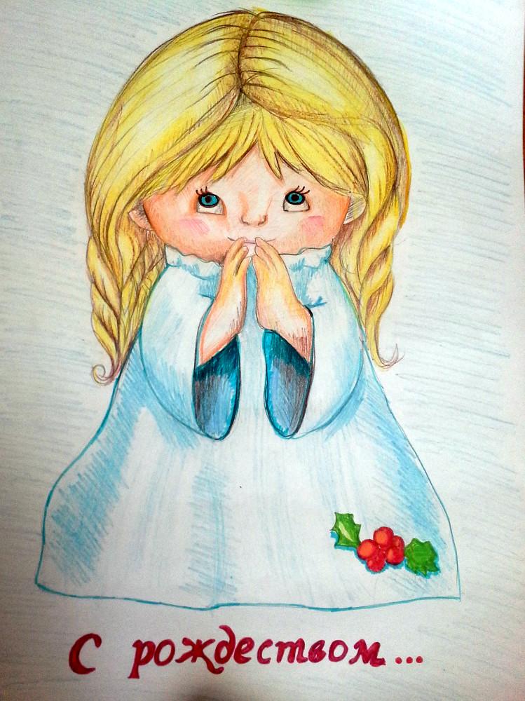 Алимжанов Берик, 4 года, С Рождеством!, Цветные карандаши, фломастер, карандаш, А3