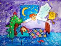 Табульдинова Альбина, 7 лет, Рождественский ангел, Б., смешанная техника