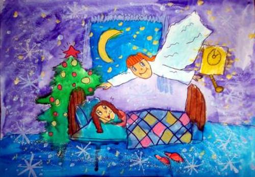 Табульдинова Альбина, 7 лет, Рождественский ангел, Б., смешанная техника<br />