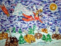 Дивисина Елена, 9 лет, Ангел Рождества, Б., смешанная техника