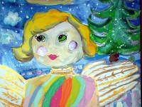 Шарипова Камила, 12 лет, Рождественский ангел, Б., смешанная техника