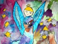 Новицкая Мария, 8 лет, Рождественский ангел, Б., смешанная техника
