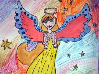 Бауыржан Самира, 9 лет, Рождественский ангел, Б., смешанная техника