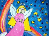 Тубольцева Екатерина, 9 лет, Рождественский ангел, Б., смешанная техника