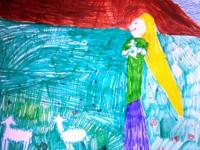 Джантлеева Ева, 8 лет, Радостная весть, Б., смешанная техника