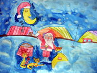 Бахтов Иван, 9 лет, Подарки всем, цветные карандаши, акварель, А3