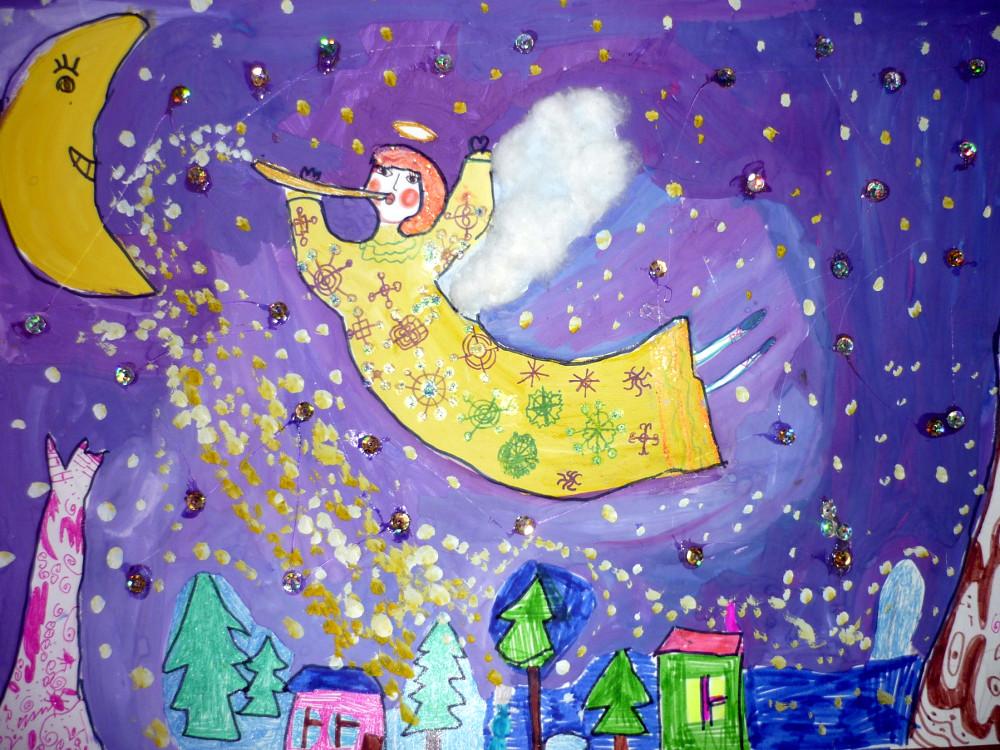 Добровольская София, 6 лет, Рождественские фантазии, гуашь, фломастеры,гелевые ручки, пайетки, вата, А3