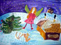 Галата Яна, 6 лет, Рождественские фантазии, гуашь, фломастеры, А3