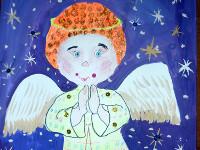 Силина Дарья, 6 лет, Рождественский ангел, гуашь, фломастеры, цветные карандаши, пайетки, А3