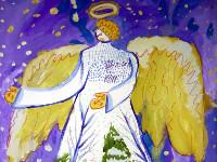 Мамашарипов Абай, 7лет, Рождественский ангел, гуашь, фломастеры, гелевые ручки, А3