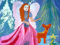 Вдовин Данил, 8 лет, Рождественский ангел, гуашь, фломастеры, А3