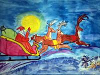 Умуржанов Дамир, 9 лет, Рождественская сказка, акварель, А3