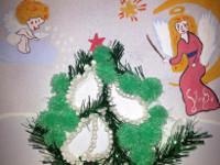 Волков Илья, 5 лет, Рождественская ночь, набрызг, объёмная аппликация, гуашь, А3