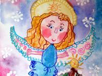 Андреева Ярослава Викторовна, 5 лет, Мой ангел Рождества, акварель, фломастер, А4