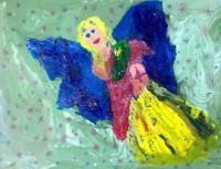 Ахметова Жанель, 5 лет, Рождественский ангел, гуашь, лак с блеском, А3