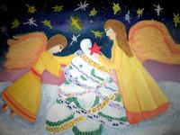 Земцева  Александра, 11 лет, Ангелы  Рождества, гуашь, А3
