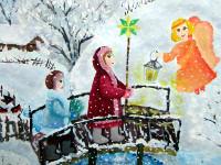 Земцева  Александра, 11 лет, Рождественское  чудо, гуашь, А3