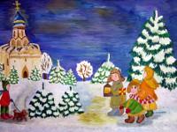 Козвонина  Анастасия, 13 лет, Рождественские  колядки, гуашь, А3