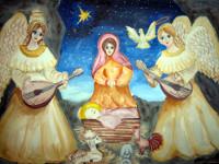 Мещерякова  Валерия, 13 лет, Рождество, гуашь, А3