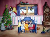 Стрельцова  Анна, 14 лет, Ночь накануне Рождества, гуашь, А3