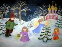 Сушкова  Виолетта, 12 лет, Рождественская  сказка, гуашь, А3