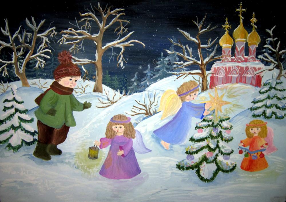 рисунок рождественского подарка