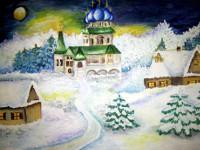 Сушкова  Виолетта, 12 лет, Рождественская ночь, гуашь, А3