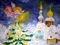 Четверикова  Виктория, 12 лет, Рождественские  ангелы, гуашь, А3