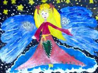Кожахметов Дамир, 6 лет, Рождественский ангел, гуашь, лак с блеском, А3