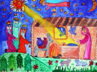 Леонтьева Анастасия, 9 лет, Рождение Иисуса, смешанная, А3