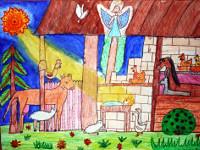 Леонтьева Оксана, 9 лет, Рождение Иисуса, смешанная, А3