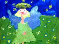 Лепехина Алиса, 5 лет, Рождественский ангел, гуашь, лак с блеском, А3
