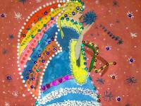 Муратхан Аружан, 6 лет, Рождественский ангел, гуашь, паетки, фломастеры, шарики из пенопласт, лак с блеском, А3
