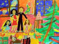 Сивоплясова Лада, 10 лет, Счастливы вместе, масляная пастель, А2