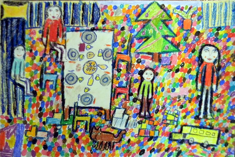 Калинина Настя, 9 лет, В ожидании чуда, масляная пастель, А2