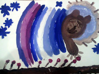 Халиуллина Чулпан, 6 лет, Что снится мишке, гуашь, А3