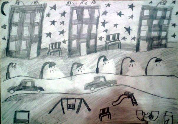 Анисимова Аделина, 7 лет, Зимний вечер, карандаш, А3
