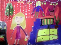Муругова Арина, 7 лет, Я и мама украшаем елку, гуашь, А3