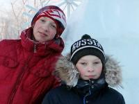 Фото у ледяной скульптуры